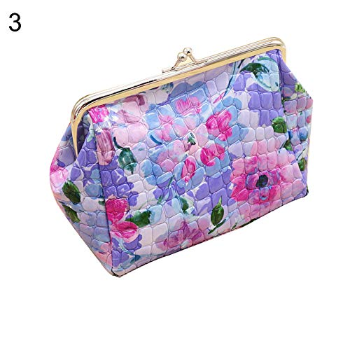 (yanbirdfx Women Vintage Flower Print Kiss Lock Faux Leather Clutch Cosmetic Bag Purse)