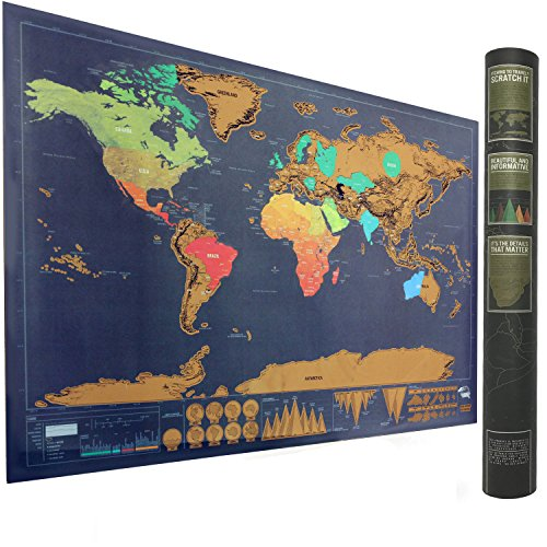 Scratch Off World Map Poster, Perfect Gift for Travelers, Travel Tracker Map Print, Perfect Gift for Travelers Big size 32.4 x 23.3 inches