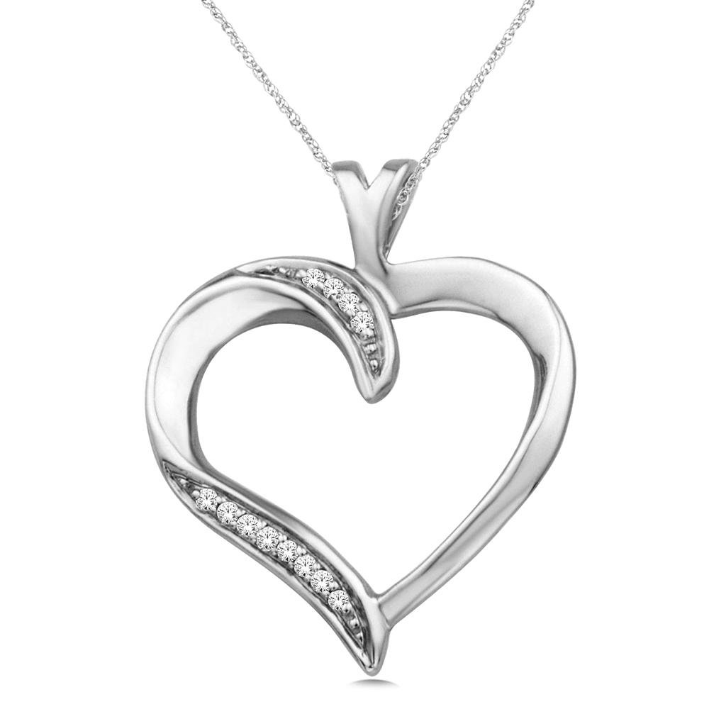 Wickersham Closeouts Sterling Silver 1//20 Ct.tw G-H Color, I2 Clarity Diamond Moving Heart Pendant