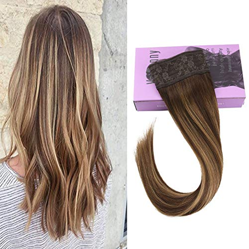 VeSunny Invisible Hair Extensions 16inch Halo Extensions Remy Secret Miracle Wire No Glue Human Hair Hairpiece Color #4 Dark Brown Ombre #27 Caramel Blonde Highlight Halo Hair 80G/Set (Medium Brown Hair Color With Blonde Highlights)
