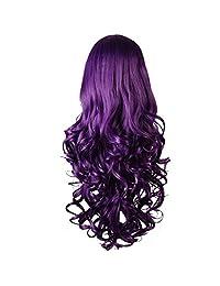"Purple Curly Cosplay Wigs 80cm, Marrywindix Halloween Cosplay Long Hair Heat Resistant Spiral Costume Wigs Purple32"""