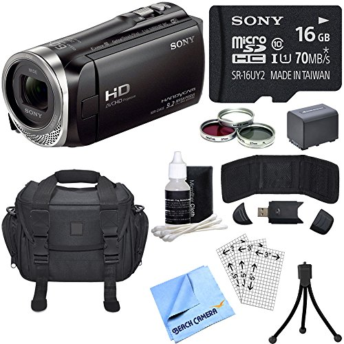Sony HDR-CX455/B Full HD Handycam Camcorder Bundle includes HDR-CX455/B Handycam, Deluxe Filter Kit, Battery, 16GB microSD Memory Card, Bag, Card Reader, Mini Tripod, Beach Camera Cloth and More! by Sony