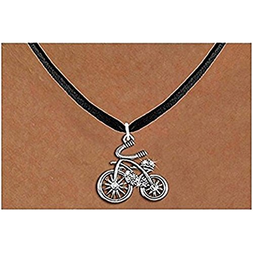 Antiqued Silver Tone and Clear Crystal Classic Bicycle Charm Necklace by Lonestar Jewelry