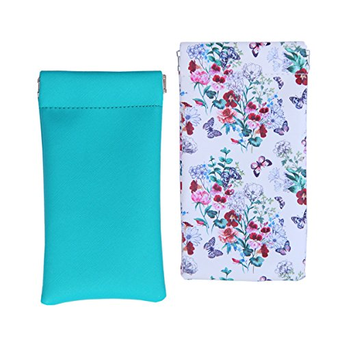 Lucky Leaf Sunglasses Goggles Pouch Case Eyeglass Holder Cell pouch with Cleaning Cloth (Teal+ ()