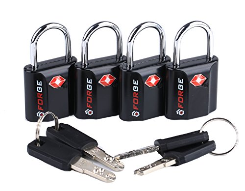Black 4 Pack TSA Approved Travel Luggage Locks Ultra-Secure Dimple Key Travel Locks with Zinc Alloy Body