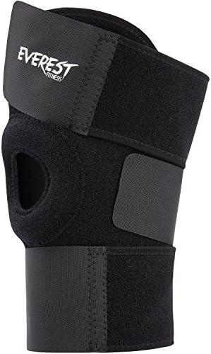 EVEREST FITNESS Sport Knie-Wickelbandage, offen, einstellbar, Universalgröße, einfach anzulegen | Knie-Stütze, Kniescheibenbandage, Knieorthese, Knie-Bandage, Wickelbandage