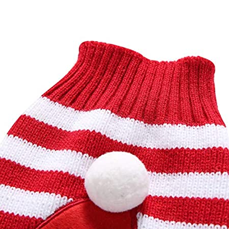 Puppy Small Medium Dogs Autumn Winter Costume XXL Back Length: 15.74in, Red Reindeer Santa Claus Pattern LEMON PET Cat Dog Sweater Cute Pullover Knitwear Christmas Clothes