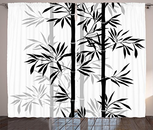 Set Bedroom Bamboo Bedroom (Ambesonne Tree of Life Curtains, Silhouette of Spiritual Bamboo Tree Leaves Japanese Zen Feng Shui Boho Image, Living Room Bedroom Window Drapes 2 Panel Set, 108 W X 63 L Inches, Black White)