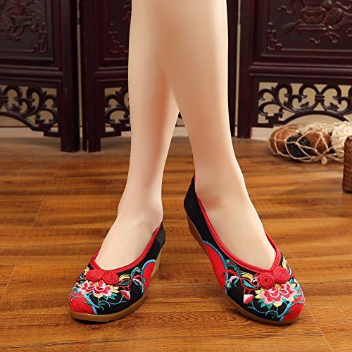 AvaCostume Womens Embroidery Canvas Wedge Heel Dancing Loafer Shoes Black pNkSd0AbU
