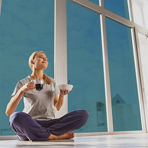 fancy-fix Sun Heat Control Solar Window Films Adhesive Reflective Dark Window Glass Tint - Blue Silver 30in x 118in by fancy-fix