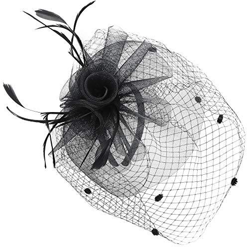 Fascinators for Women Wedding with Veil Tea Party Hats Headband Kentucky Derby Headwear Cocktail Flower Feathers Hat Hair Clip (Black)]()