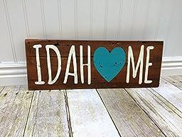 Idaho Handpainted Barnwood Idahome Wood Décor Sign with Blue Heart.