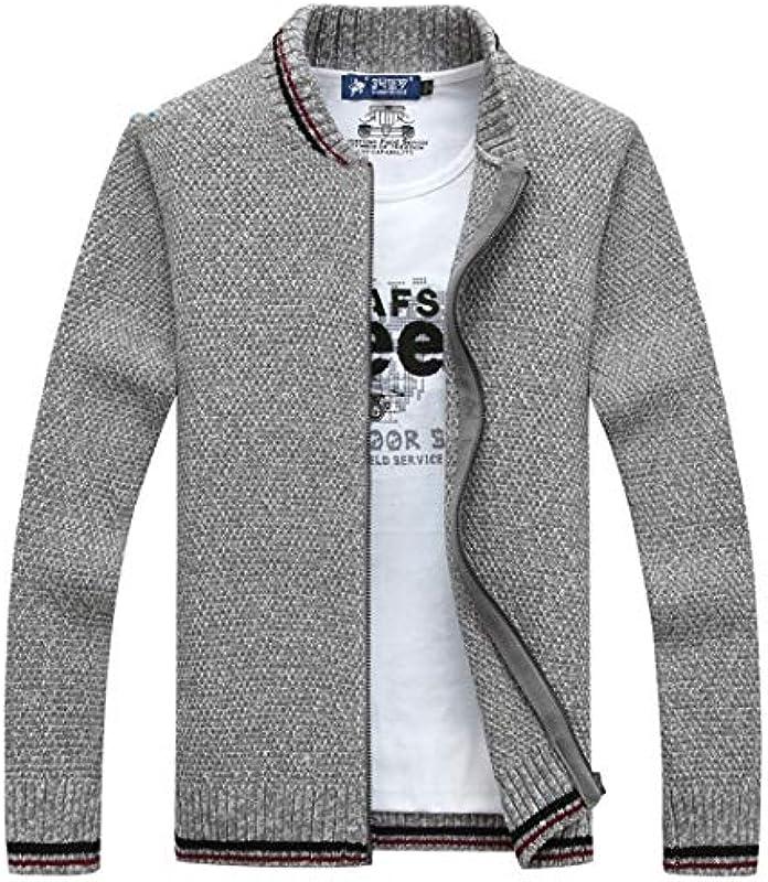 NDLENG Męskie Casual Sweater Winter Warm Fleece Cardigan Jacken Mode Reißverschluss Strickpullover Mantel: Odzież