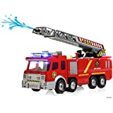Memtes® Electric Fire Truck Toy with Lights and Sirens, Extending Ladder and Water Pump Hose to Shoot Water, Bump and Go Action