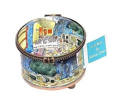 Kelvin Chen Van Gogh's Night Cafe Enameled Postage Stamp Holder Dispenser, 2.25 Inches Diameter