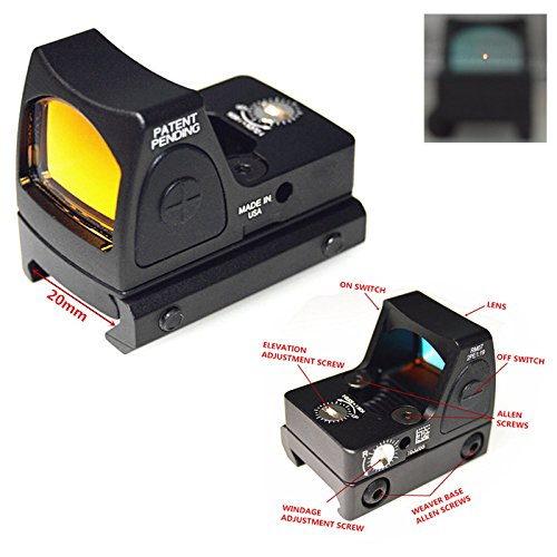 FIRECLUB Airsoft RMR style Mini Micro Red Dot Sight Black w/Side ON/OFF switch (black)
