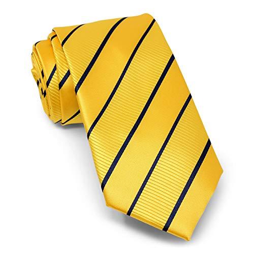 Neckties By Scott Allan - Yellow & Navy Blue Mens Stripe Tie