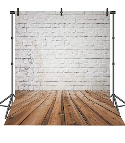 Price comparison product image Sensfun Shabby Chic White Brick Wall Backdrop Brown Wooden Floor Photography Background Vinyl Studio Photo Shoot Props 8x8ft
