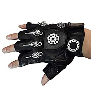 Mens Unisex Steampunk Gears Gothic Genuine Leather Half Finger Fingerless Gloves
