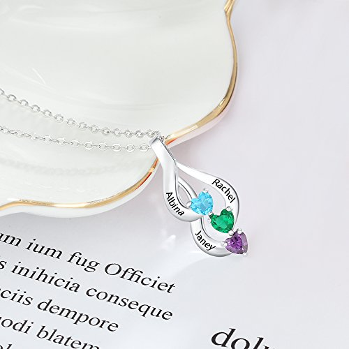 Love Jewelry Personalized 3 Heart Simulated Birthstone Mothers Pendant Necklace with 3 Names Family Pendants for Mother by Love Jewelry (Image #4)