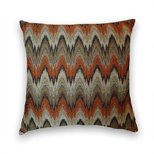 Orange Grey Black Chevron Decorative Throw Pillow Cover