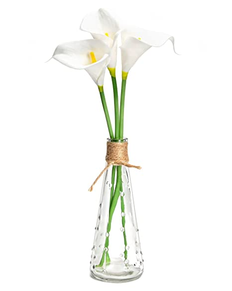 Mkouo Artificial Flowers 3 Stems Of Plastic Artificial Calla Lily