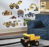 RoomMates SPD0003SCS Construction Vehicles Peel and Stick Wall Decals, 18 Count, 1-Pack Picture