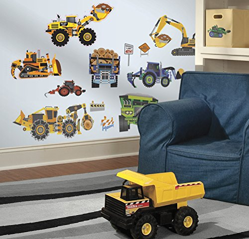 Roommates Stickers (RoomMates SPD0003SCS Construction Vehicles Peel and Stick Wall Decals, 18 Count, 1-Pack)