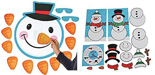 Build a Snowman Game and Pin the Nose on the Snowman Game Set (2 Piece Set)