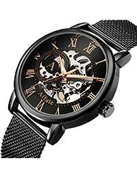 Men's Hand-Wind Mechanical Watches Classic Skeleton Black Mesh Stainless Steel Strap Waterproof Wrist Watch
