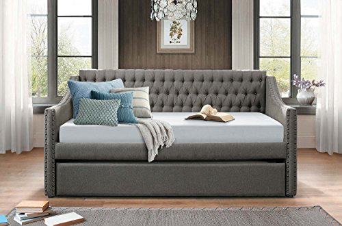 Homelegance Sleigh Daybed with Tufted Back Rest and Nail Head Accent, Twin, Dark Grey