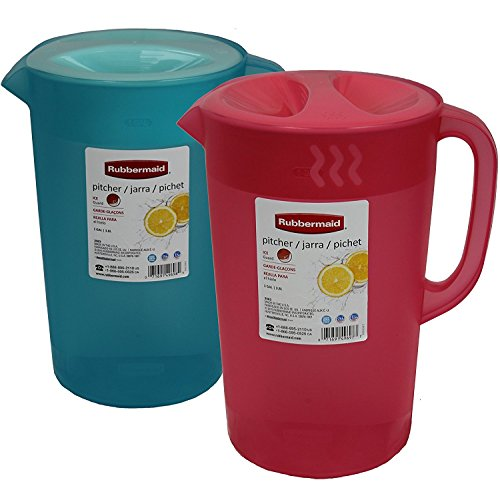 Rubbermaid 1 Gallon Classic Pitcher, Pack of 2 Colors, Coral-Blue (Pitcher Gallon 1 Plastic With Lid)