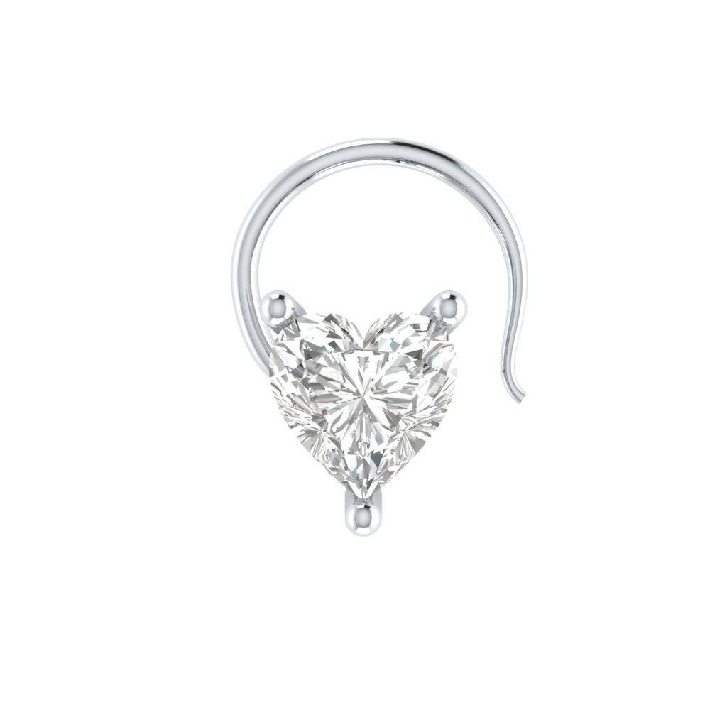 bbamjewelry Womens Heart Shape Cubic Zirconia Solitaire 10K White Gold Nose Piercing Ring Stud