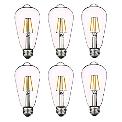 Antique LED Bulbs Soft Warm White 2700K, 4W ST64 Dimmable Vintage Edison LED Bulbs, Squirrel Cage Filament Bulb, 360 Lumens, E26 Clear Glass, Pack of 6(2 Year Warranty)
