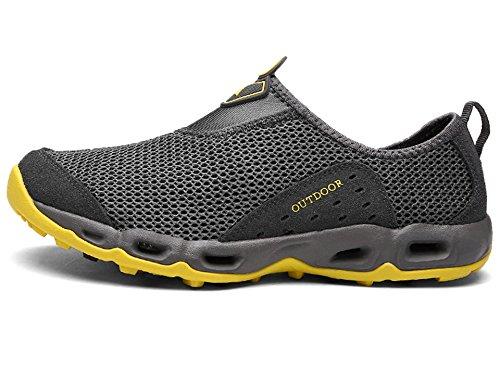 Lakaka Wasserschuhe Leicht Atmungsaktiv Schnell Trocken Mesh Sport Walking Sneaker Schwimmschuhe Slip on Aquaschuhe Strandschuhe Unisex Grau