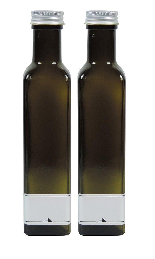 Viva-Haushaltswaren - 2 x vacías Kleine Aceitera (250 ml, de color marrón botella de cristal, botella de licor con rosca,, incluye 2 etiquetas etiquetas: ...