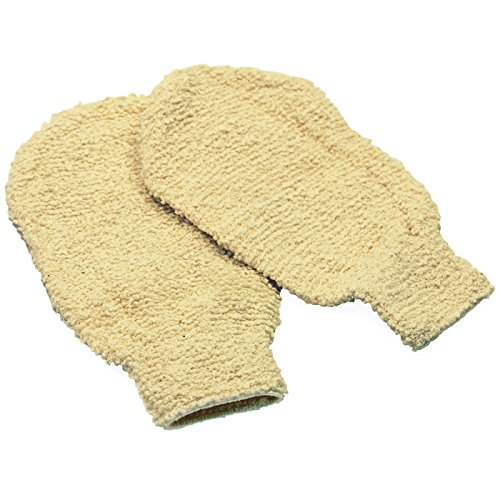 Knoola-Natural-Shower-Body-Scrubber-Hemp-Washcloth-Exfoliating-Gloves-Pair-5050-Blend-Loofah-For-Men-and-Women