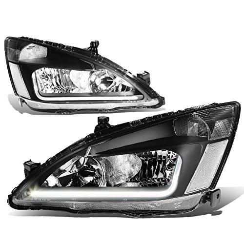 For 03-07 Honda Accord 7th Gen UC1 Pair of Black Housing Clear Corner Headlights + LED - Headlights Accord