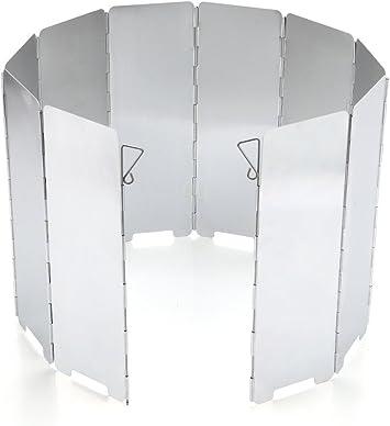 Imagen deJAMSWALL Parabrisas Aluminio Plegable aleación de Aluminio con 10 Piezas para Comping Stove Protector