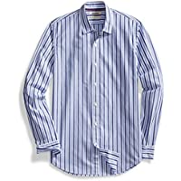 Men's Standard-Fit Long-Sleeve Two-Color Stripe Shirt