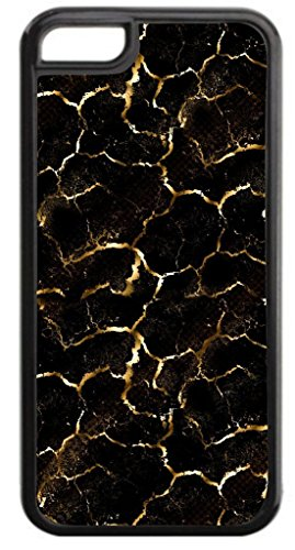 Gold and Black Crackle PRINT- Case for the APPLE IPHONE 6 ONLY!!! NOT COMPATIBLE WITH THE IPHONE 6 PLUS!!!-Hard Black Plastic Outer Case with Tough Black Rubber Lining