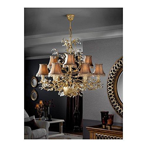 Schuller Spain 480317/4834I4L Vintage Gold Ceiling Chandelier Ivory 9 Light Dining Room, Living Room LED   ideas4lighting by Schuller