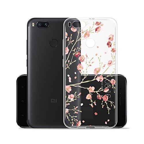 Funda para Xiaomi Mi 5X / Xiaomi Mi A1 , IJIA Transparente Hojas de Plátano Verde TPU Silicona Suave Cover Tapa Caso Parachoques Carcasa Cubierta para Xiaomi Mi 5X / Xiaomi Mi A1 (5.5) WM84