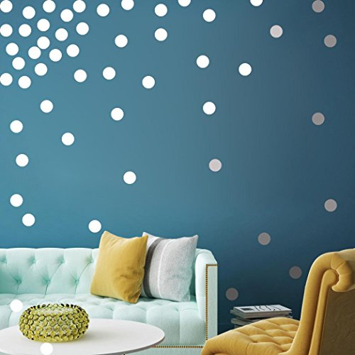 Wall Sticker by Vibola Silver Wall Decal Dots (200 Decals) Easy to Peel Stick Safe on Painted Walls Removable Metallic Vinyl Polka Dot Decor Round Sticker Large Paper Sheet Set for Nursery Room