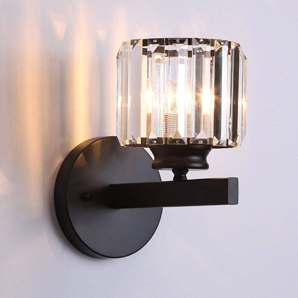 New Golden Fan-Shaped Wall Sconce Crystal Wall Lamp For Home Decoration Light
