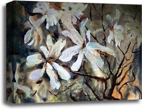 Watercolor Painting Of The Beautiful Flowers. Gallery Wrapped Canvas Art (16in. x 20in.) by barewalls