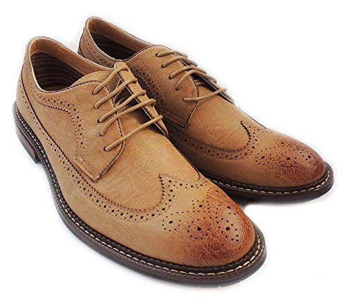 NEW FASHION MENS LACE UP WINGTIP OXFORDS CASUAL LEATHER LINED DRESS SHOES MFA 19312 /BROWN562