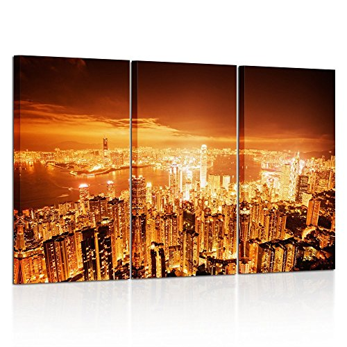 Print Wall Art Decor Cityscape Picture USA Los Angeles Night City Lights Contemporary Photographic Prints 3 Panel Image For Home Living Room Office Decorations 16x32inchx3pcs ()