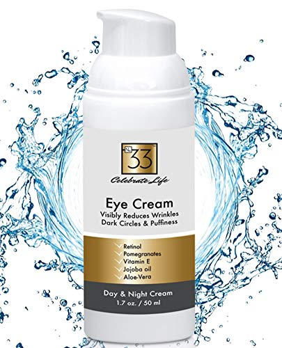 Eye Cream w/Retinol For Dark Circles and Puffiness. Use Day and Night to Moisturize and Firm the Skin on your Face w/Vitamins and Essential Oils. 1.7 oz. by No.33
