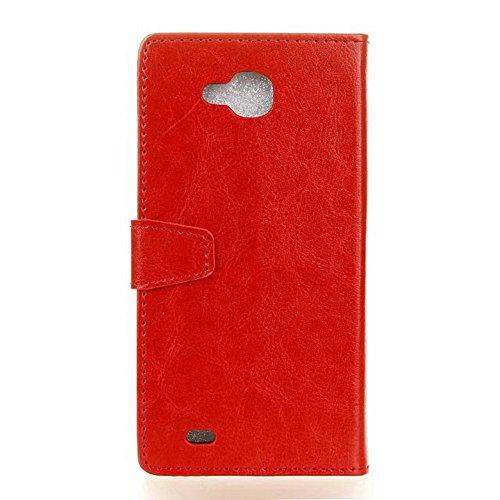 Cristal de grano de cuero de la PU de la carpeta de la caja del teléfono de la caja del teléfono cubierta suave del silicón con las ranuras del efectivo de la tarjeta y función del soporte para LG V9  Red
